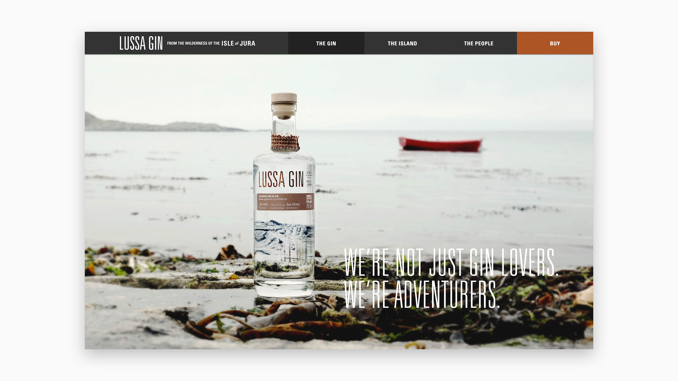 Lussa Gin Website - Desktop View